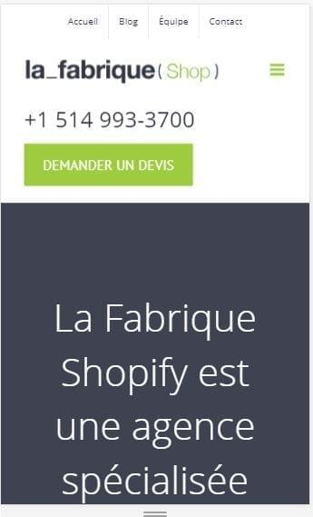 Fabrique Shopify mobile